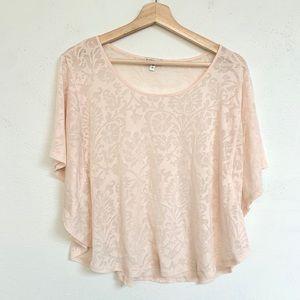 express romantic blush pink tissue top